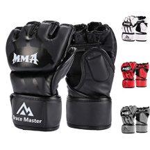 Brace-Master-Gants-MMA-Gants-UFC-pour-Hommes-et-FemmesGants-pour-lentrainement-en-Cuir-sans-DoigtsGants-de-Protection-Convient-Combats-Muay-Thai-Boxe-Arts-Martial-Mixte-Medium-Noir-0