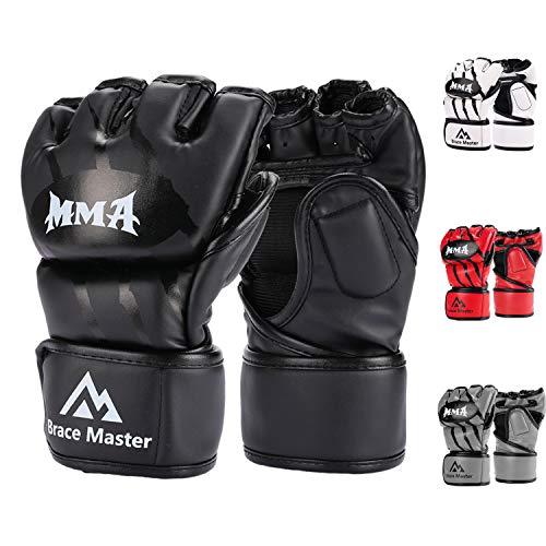 Brace-Master-Gants-MMA-Gants-UFC-pour-Hommes-et-Femmes-Gants-pour-lentrainement-en-Cuir-sans-Doigts-Gants-de-Protection-Convient-Combats-Boxe-Taekwondo-Arts-Martial-Mixte-Small-Noir–0