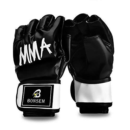 Demi-Doigt-Gants-De-Boxe-MMA-UFC-Sparring-Mitaines-Pour-Les-Arts-Martiaux-Formation-Sandbags-Kickboxing-Noir-0