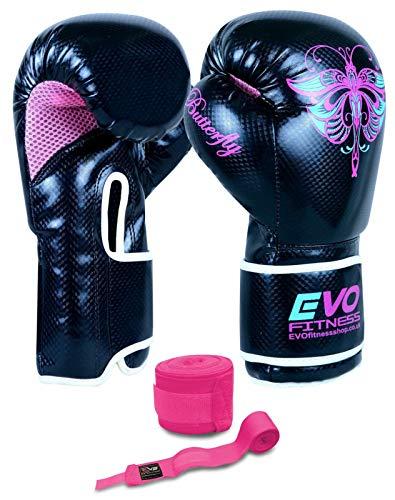Evo-Fitness-Gants-de-boxe-en-Rexine-pour-femme-Sac-de-frappe-arts-martiaux-MMA-Muay-Thai-Kick-boxing-2365-ml-0