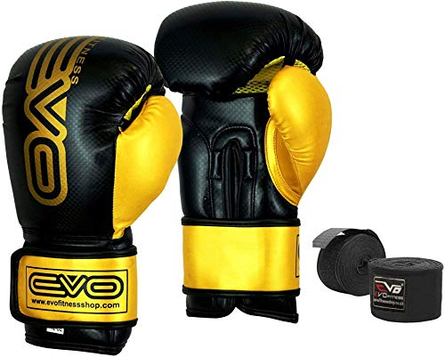 Evo-Maya-Cuir-Gants-de-Boxe-MMA-Sac-De-Frappe-Entranement-Kick-Boxing-entranement-Gant-16-Oz-0