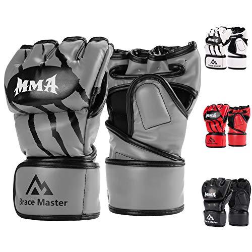 Brace-Master-Gants-MMA-Gants-UFC-pour-Hommes-et-Femmes-Gants-pour-lentrainement-en-Cuir-sans-DoigtsGants-de-Protection-Convient-Combats-Muay-Thai-Boxe-Arts-Martial-Mixte-Small-Gris-0
